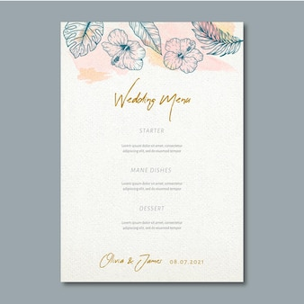Wedding menu with floral ornaments
