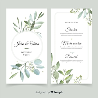 Wedding menu with foliage design