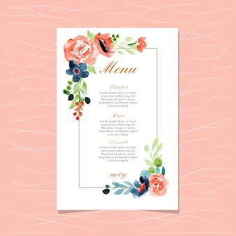 Wedding menu with peach blue floral watercolor frame
