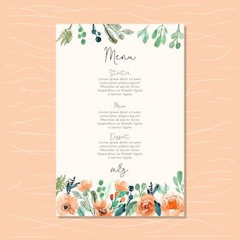 Wedding menu with watercolor floral border