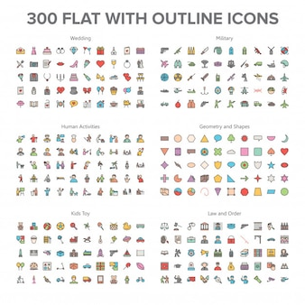 Wedding, Military, Human activity and Baby Toys 300 Flat with Outline Icons Bundle