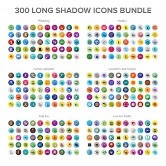 Wedding, military, human activity and baby toys 300 long shadow icons bundle