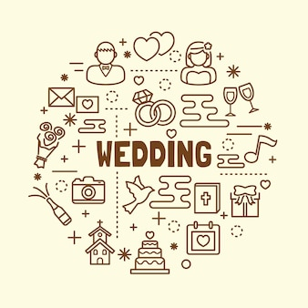 結婚式の最小細い線のアイコンが設定さ