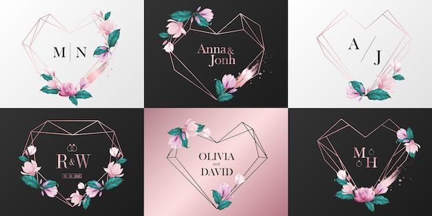 웨딩 모노그램 로고 컬렉션. 수채화 스타일에서 꽃으로 장식 된 로즈 골드 하트 프레임