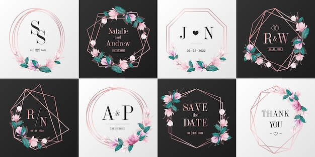 Wedding monogram logo collection. rose gold watercolor floral frame for invitation card design.