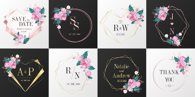 웨딩 모노그램 로고 컬렉션. 초대 카드 디자인에 대 한 수채화 꽃 프레임입니다.