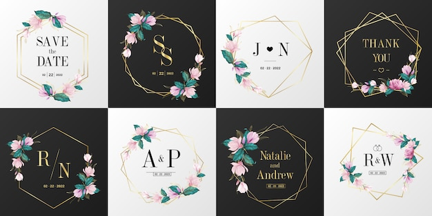 Wedding monogram logo collection. watercolor floral frame for invitation card design.