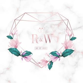 웨딩 모노그램 로고 디자인 서식 파일입니다. 초대 카드 디자인에 대 한 수채화 꽃 프레임입니다.