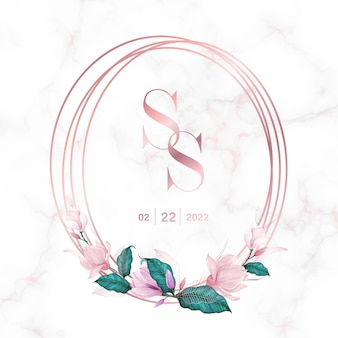 Wedding monogram logo design template. watercolor floral frame for invitation card design.