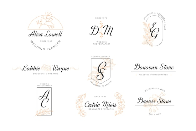 Wedding monogram logo pack
