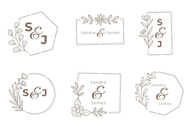 Wedding monogram logo set