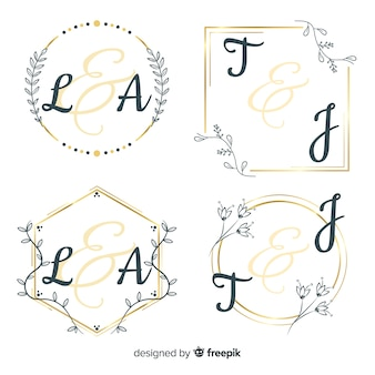 Свадебный монограмма логотип шаблонов коллекции Premium векторы