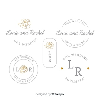 Wedding monogram logo template collection