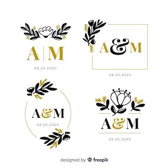 Wedding monogram logo template collection