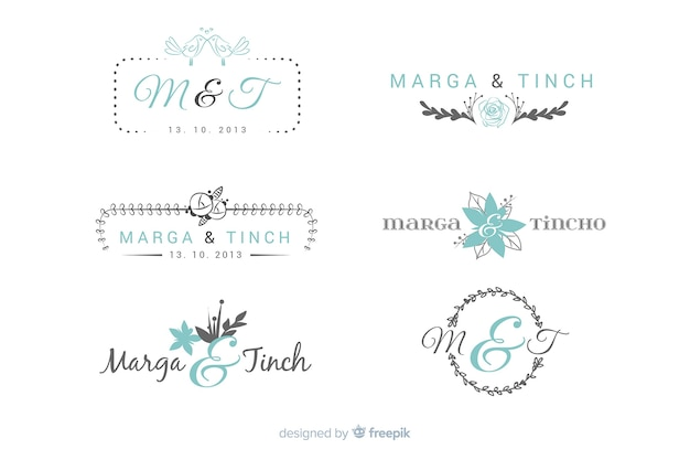 Wedding monogram logo templates collection