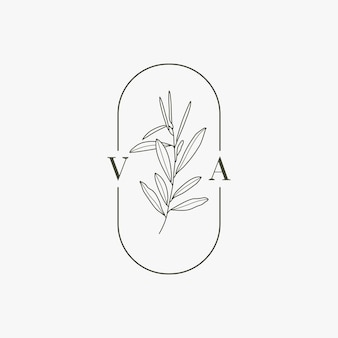 Wedding monogram and logo with olive branch in modern minimal liner style. vector floral template for invitation cards, save the date. botanical rustic illustration