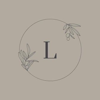 Wedding monogram and logo with olive branch in modern minimal liner style. vector round floral frame with the letter l for invitation cards, save the date. botanical rustic illustration