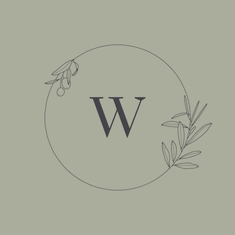 Wedding monogram and logo with olive branch in modern minimal liner style. vector round floral frame with the letter w for invitation cards, save the date. botanical rustic illustration