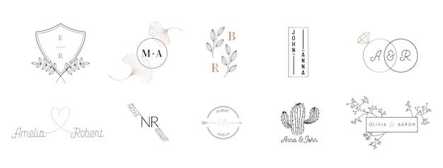 Коллекция свадебных логотипов с монограммами, нарисованные вручную современные минималистичные и цветочные шаблоны для пригласительных билетов, save the date, элегантный стиль для ресторана, бутика, кафе в векторе