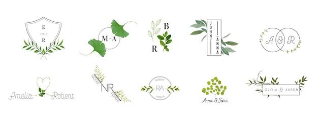 웨딩 모노그램 로고 컬렉션, 초대장을 위한 수채색 현대적인 소박하고 꽃무늬 템플릿, 날짜 저장, 레스토랑, 부티크, 카페를 위한 우아한 아이덴티티 벡터