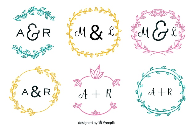 Wedding monogram logos template collection