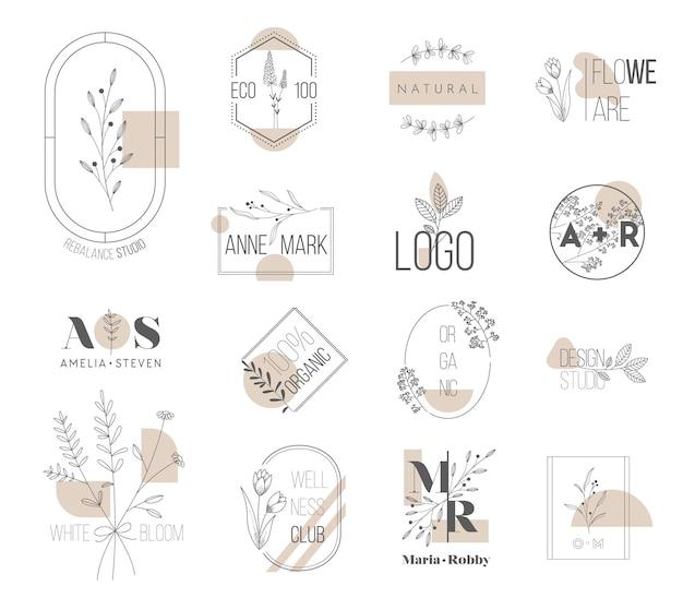 Свадебная монограмма, минималистичный цветочный логотип, цветочные современные шаблоны коллекций для пригласительных билетов, save the date, айдентика для ресторана, бутика, кафе. концепция векторные иллюстрации