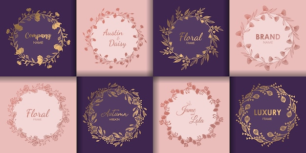 Wedding monograms and floral border set