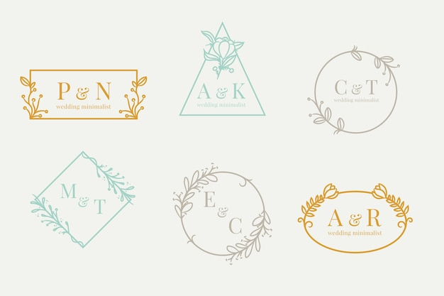 Wedding monograms in minimalist  pastel colors set