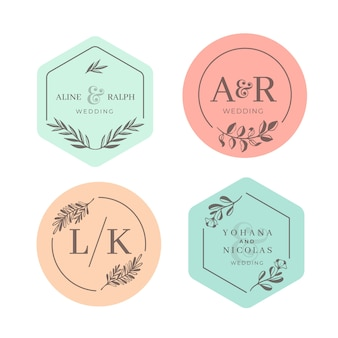 Wedding monograms in pastel colors style
