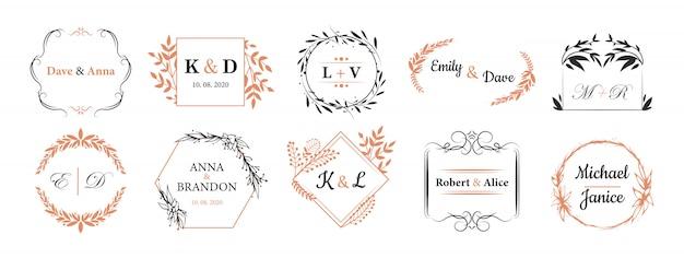 Set di monogrammi di nozze