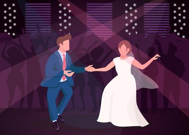 Брачная ночь вечеринка плоская цветная иллюстрация
