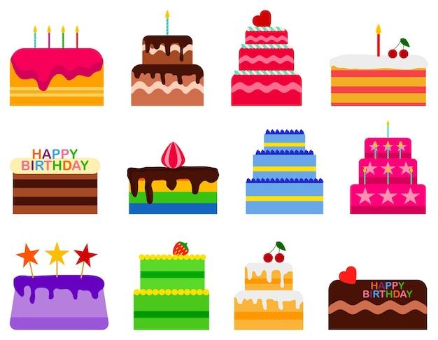 Установленные значки тортов пирога свадьбы или дня рождения. торт сладости десертная выпечка в плоский.
