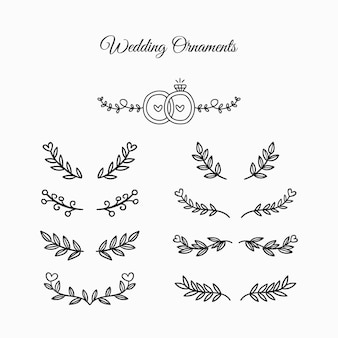 Wedding ornament collection hand drawn