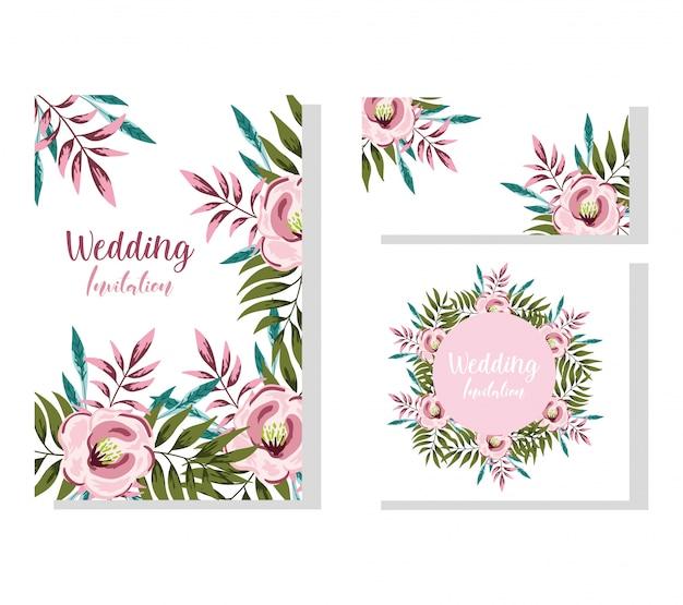結婚式の飾り花咲く装飾的なグリーティングカードや招待状