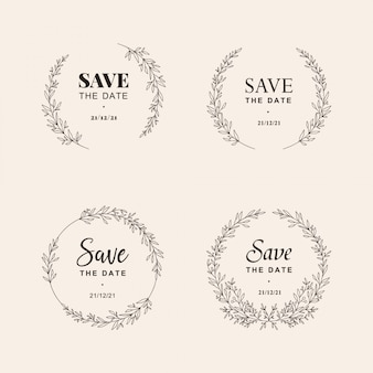 Wedding ornament hand drawn wreath illustration set