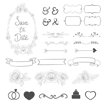 Wedding ornament set collection for invitation card decoration.