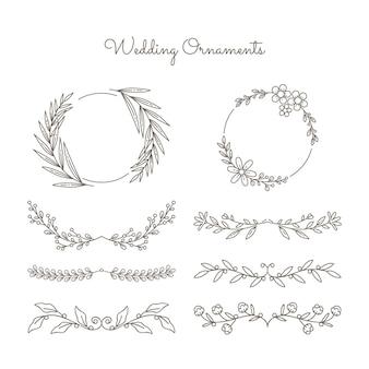 Wedding ornament set hand drawn