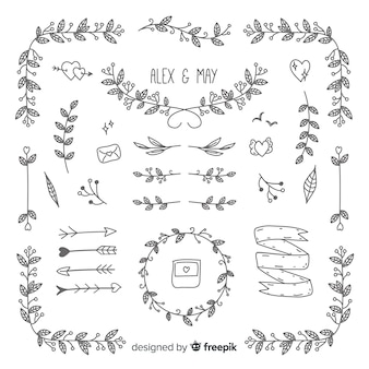 Wedding ornaments collection hand drawn