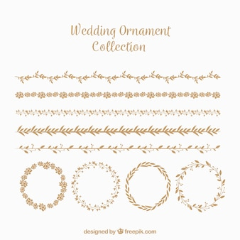 Wedding ornaments collection in flat style