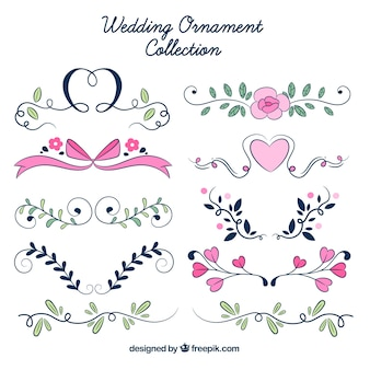 Wedding ornaments collection with flowers