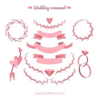 Wedding ornaments collection with ribbons and leaves