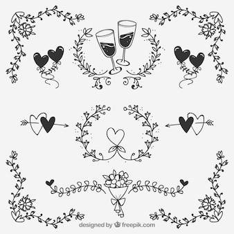Stile disegnato di ornamenti di nozze in mano