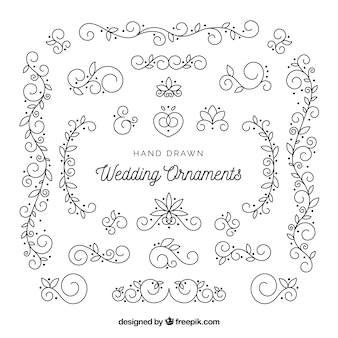 Wedding ornaments in hand drawn style