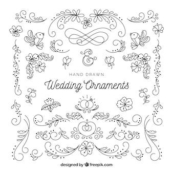 Wedding ornaments in hand drawn style