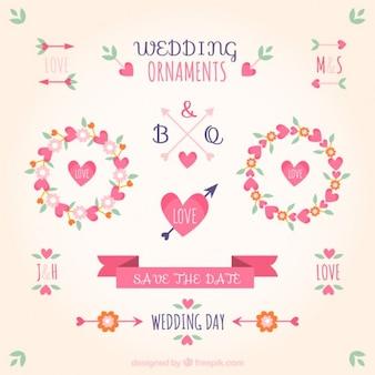 ピンクの色の結婚式の装飾品