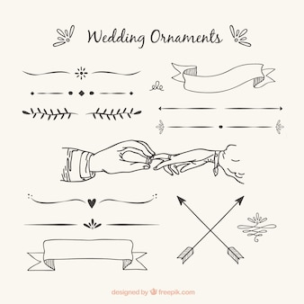Wedding ornaments with hand drawn style