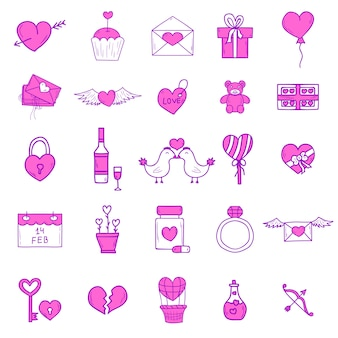 Wedding outline icons set