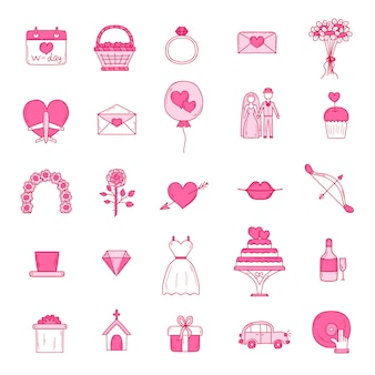 Wedding outline icons set