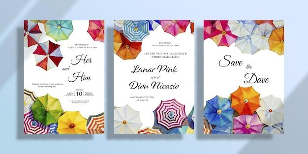 Свадебные картины зонт набор пригласительный билет с акварельным пейзажем