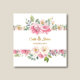 Wedding party floral invitation